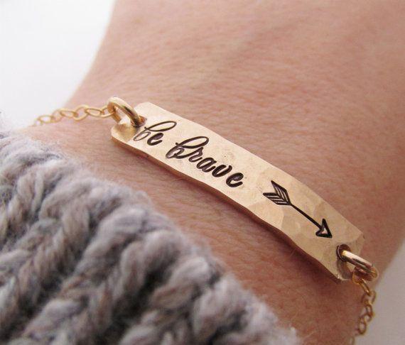 Be Brave Gold Bar Bracelet - Arrow Bracelet  - hand stamped jewelry - Inspirational Jewelry - Layering Bracelet