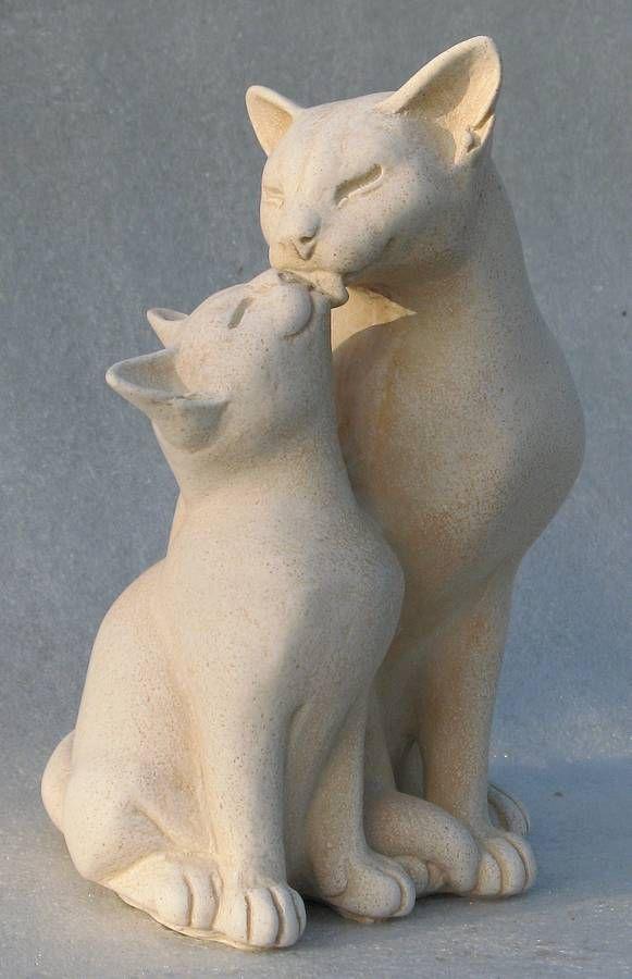Luna Washing Her Kitten in portland stone resin - Cat Sculptures by Suzie Marsh
