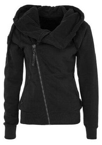 Solid Color Long Sleeves Casual Style Hoodie For Women (BLACK,M) | Sammydress.com