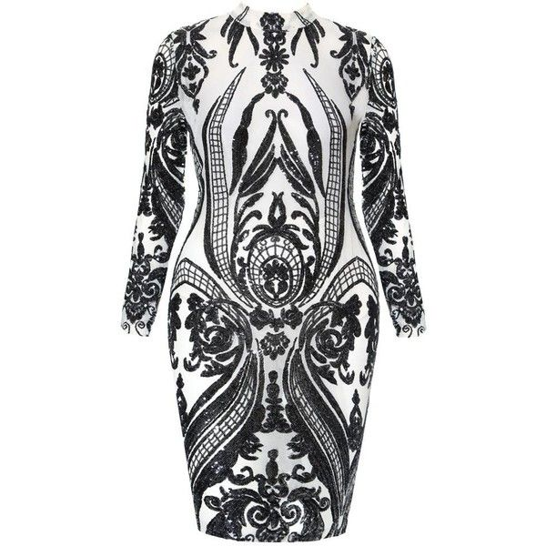 Plus Size Sequin Tattoo Sheer Midi Dress ($63) ❤ liked on Polyvore featuring dresses, plus size midi dresses, long sleeve cocktail dresses, bodycon midi dress, long sleeve sequin dress and plus size bodycon dresses