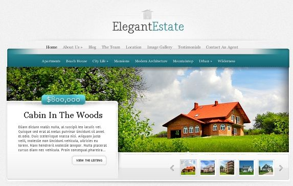 Elegant Estate WordPress Real Estate theme http://vastgoedapps.com/wordpress-real-estate-design/