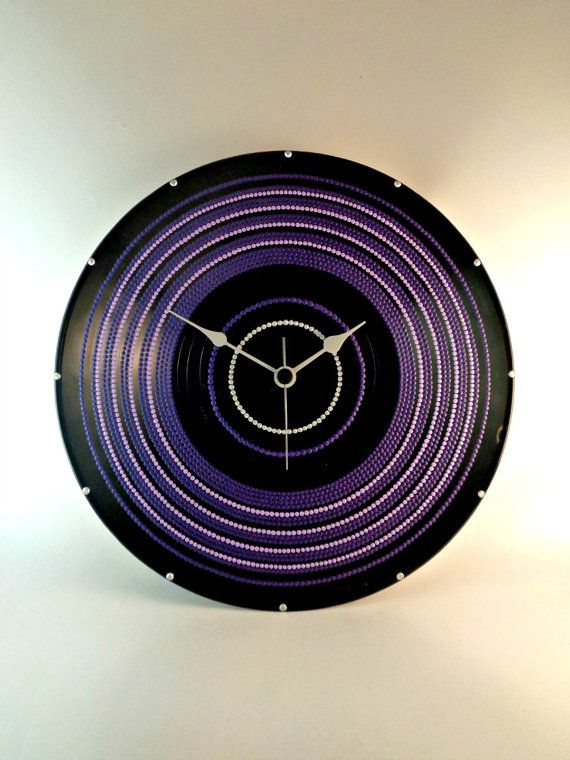 All Purple Vinyl Clock Hand Painted Upcycled by InsaneDotting