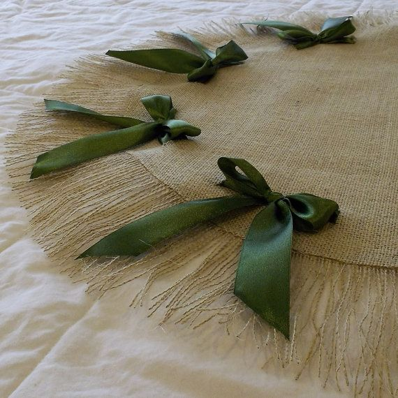 Burlap Table Round with Green Ribbons and Fringe by cherrycheckers, $30.00