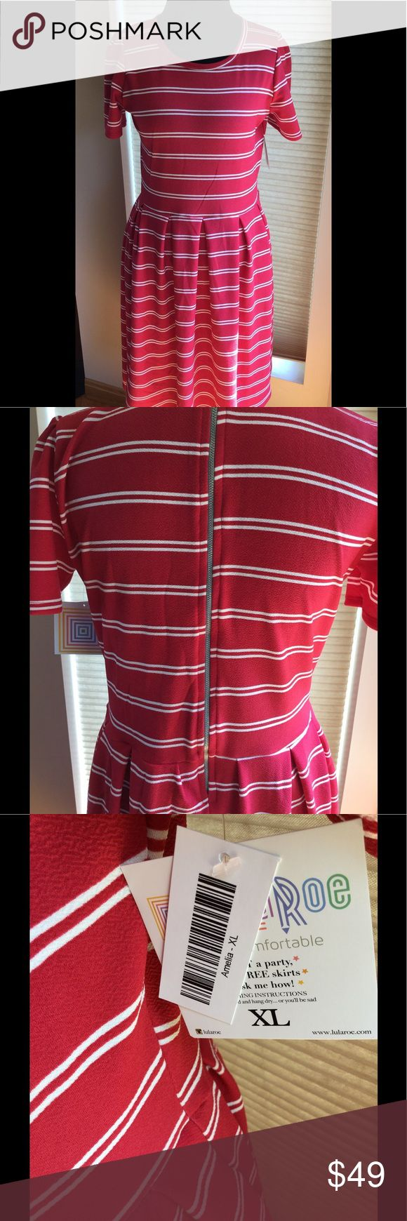Lularoe Amelia XL Red/White Stripe New ♥️ This dress is so cute😬. Red/White stripes XL Lularoe stretchy material. According to chart size 18😉 NWT. Final Price!!🌹 LuLaRoe Dresses Midi