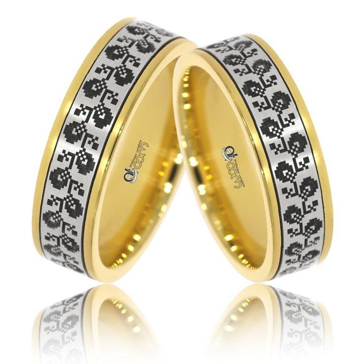 Verighete Lux Varvara aur galben cu alb