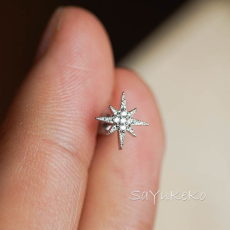 cartilage earring 16g,tragus earring,cartilage piercing,helix earring,tragus piercing,helix piercing unique silver star zircon by sayukeko on Etsy https://www.etsy.com/listing/271581731/cartilage-earring-16gtragus