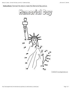 Memorial Day connect the dots page featuring the Statue of