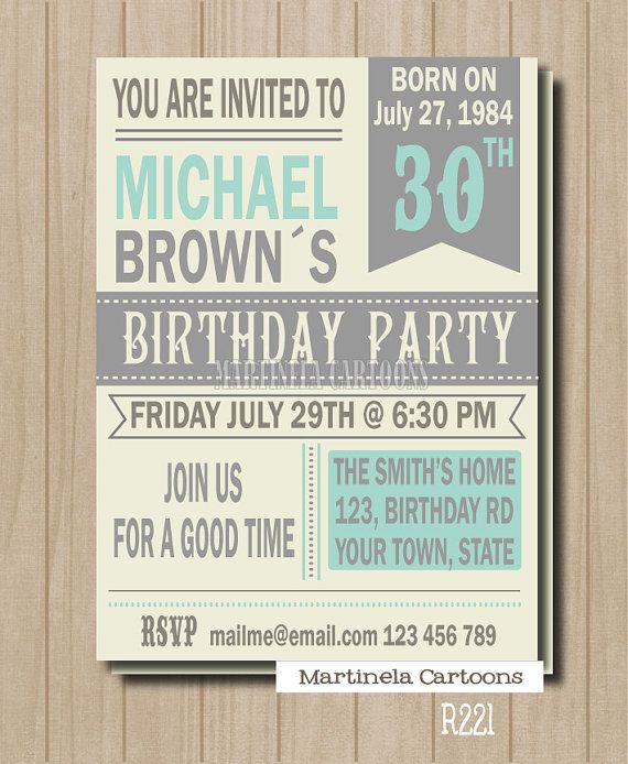 50th birthday invitation, 40th birthday invite, adult birthday printable invite with custom character to resemble the honored one. on Etsy, $18.00