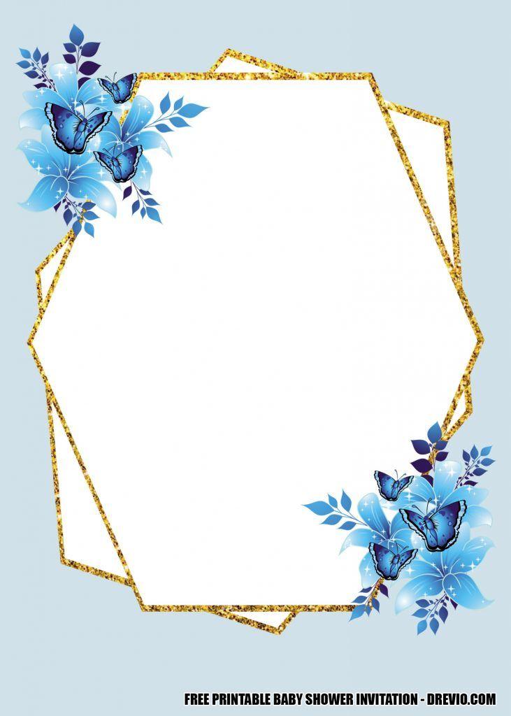 12 free blue floral gold invitation