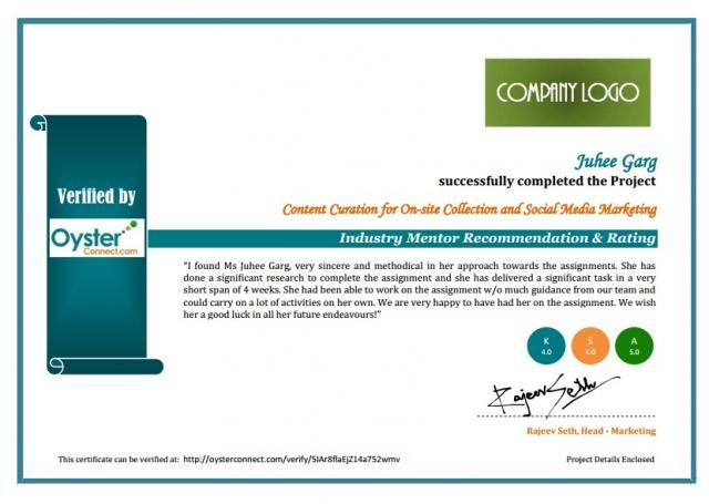 Sample Company Certificate given on project completion, Company - completion certificate format