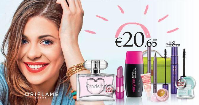 Με το Teen beauty Set έχετε 8 προϊόντα oμορφιάς Oriflame αξίας 118€ μόνο με 20,65€ μαζί με το πρακτικό πράσινο νεσεσέρ! To set περιλαμβάνει make up, κραγιόν, μάσκαρα, στυλο φρυδιών, lip gloss, προϊόν περιποίησης επιδερμίδας tender care και κρέμα ματιών μαζί με το υπέροχο γυναικείο άρωμα Tenderly EdT.  Για τις φίλες μας από την Κύπρο το Teen beauty Set κοστίζει 26,00€.