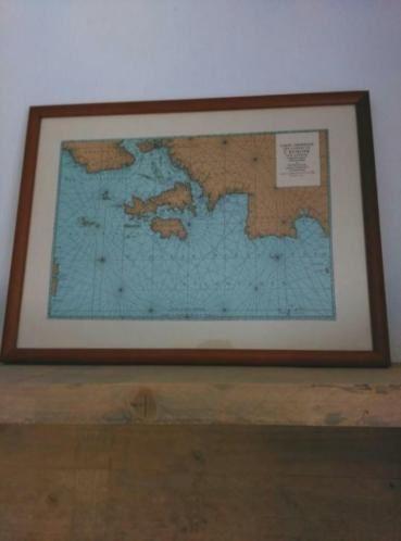 Oude Antieke Prent Zeekaart in Lijst Altantische Oceaan Kust Europa 1693