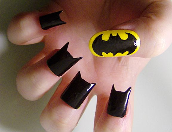 Batman nails!: Nails Design, Nailart, Awesome, Bats, Beautiful, Nails Polish, Fingers Nails, Batman Nails Art, Halloween