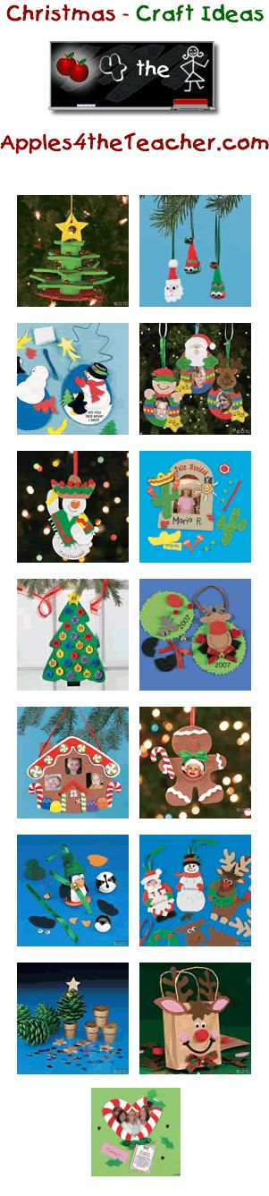 Fun Christmas crafts for kids - Christmas craft ideas for children.   http://www.apples4theteacher.com/holidays/christmas/kids-crafts/