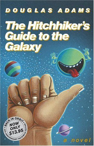 "The Hitchhiker's Guide to the Galaxy by Douglas Adams ~  First in the classic ""5-part"" trilogy involving Arthur Dent and his friend Ford Prefect.  Arthur Dent is grabbed from Earth by his friend Ford Prefect, whom he just found out is an alien, moments before a cosmic construction team demolishes the planet to build a freeway."