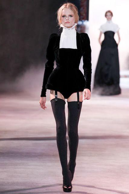 Black Garter knickers + thigh highs | Ulyana Sergeenko // Fall 2013 Couture
