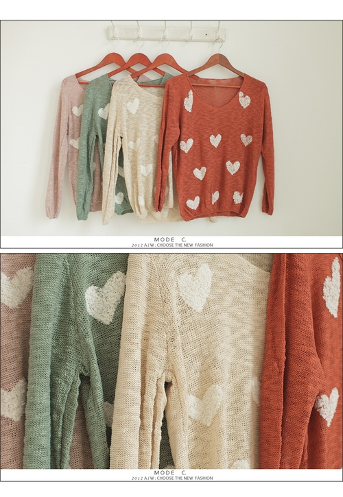 sweaters: Single Color, Heart Sweater