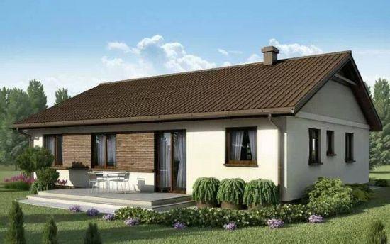 Casa doar cu parter cu fatada alba si acoperis maro inchis