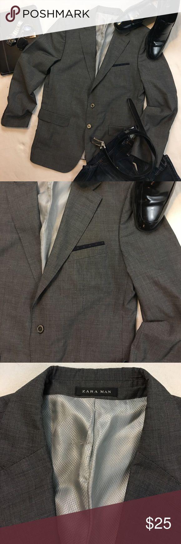 Zara Men 2 Button Blazer Sportcoat Jacket Zara Men 2 Button Fully lined double back vent blazer sportcoat jacket, gray has top stitching around lapel and pockets front pocket handkerchief detail Zara Jackets & Coats