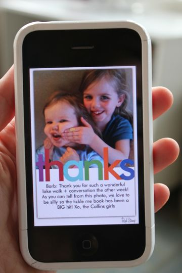"""An App Every Mom Should Have - turns photos into """"cards"""" - either ecards or send a postcard for $2. An easy way to save time and yet still say thank you - plus you can take a photo of your child enjoying Grandma's gift (send her the postcard for her fridge!) No trips to the post office, searching for stamps. These conveniences make life so much easier for moms who lack energy!"""