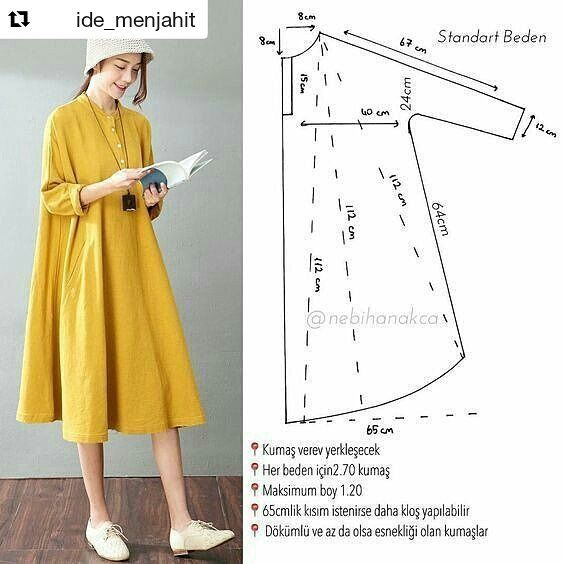 "24 Likes, 1 Comments - Arifah Nurfitriana (@arifah_nurfitriana) on Instagram: ""#Repost @ide_menjahit with @repostapp ・・・ Pola dress. Silahkan share ke teman2mu  Sumber:…"""