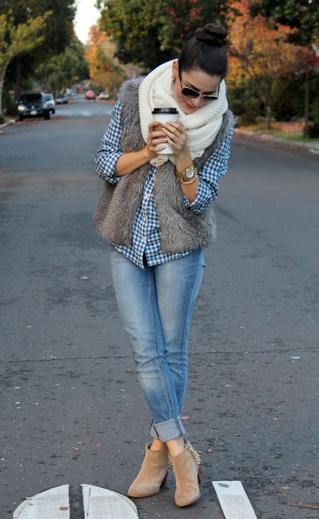 Vest, scarf, booties, rolled up jeans!