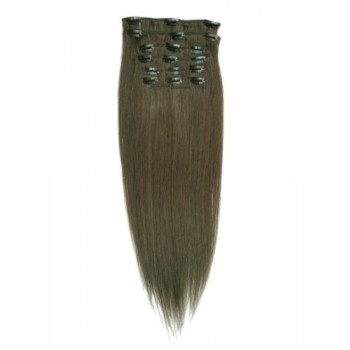 15 inches Ash Brown(#8) 7 pieces Clip In Human Hair Extension
