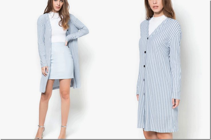 blue striped long cardigan