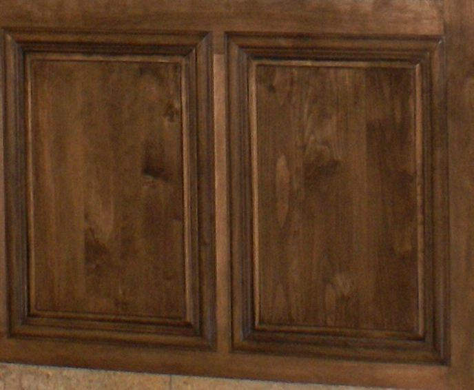 Dark walnut stain on birch cabinets new house for Black stained cabinets