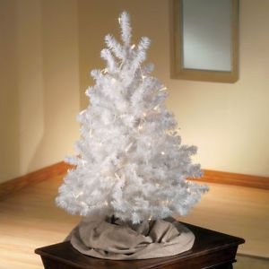 New White 3 Foot Artificial Xmas Tree No Lights Free Standing Tabletop   eBay