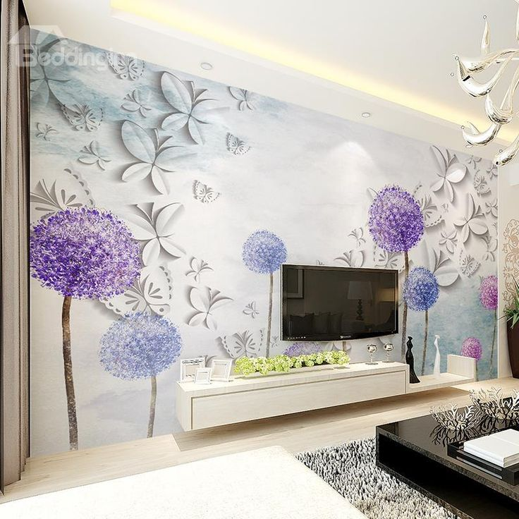 White Butterflies And Purple Dandelion Pattern Waterproof D Wall Murals  With 3d Wall Stickers For Bedrooms Interior Design