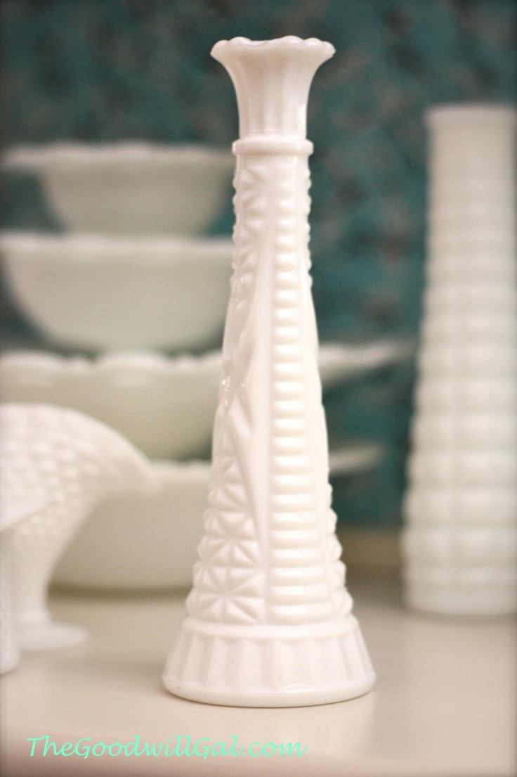 Popular tall #milk glass vase from #Goodwill.  #vintage #antique #collection