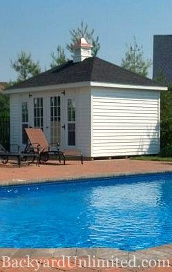 12'x14' Hip Roof Garden Shed with Vinyl Siding, 15-Lite Fiberglass Doors and Cupola http://www.backyardunlimited.com/sheds/hip-roof-sheds