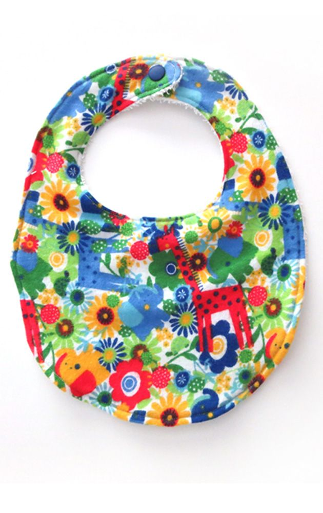 This bib is made with a soft flannel front and backed with terry cloth for extra absorbency. This bib makes a great baby shower or birthday gift!   Toddler bib