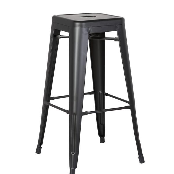 Backless Metal Barstool Matte Black 30 Inch Set Of 2 In 2020