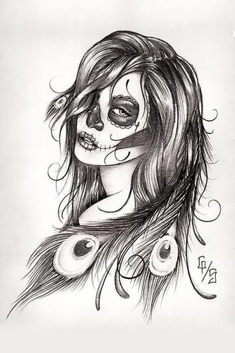 Dead Feathers by Gary Shepherd Tattoo Art Print Sugar Skull Day of The Dead | eBay