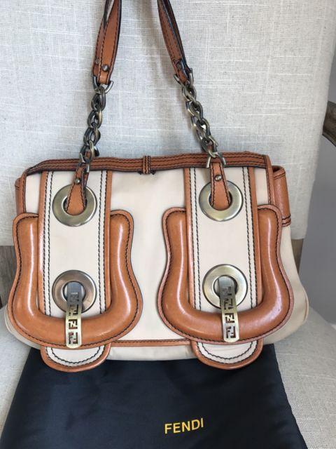 e5eec5e920a6 AUTHENTIC Fendi Double Buckle B Bag Tan Canvas Leather EUC SATCHEL HANDBAG  PURSE