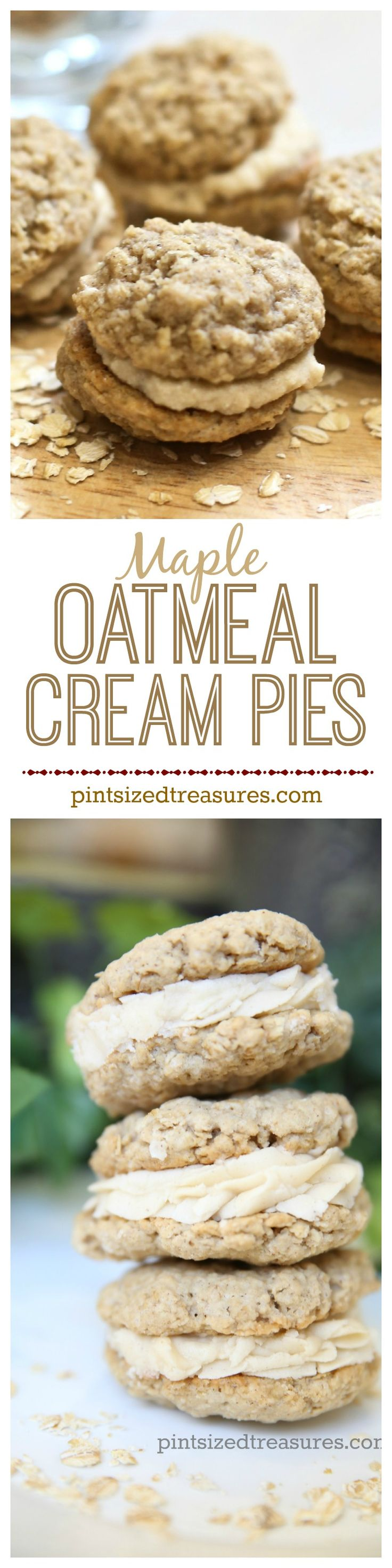 Maple Oatmeal cream pies taste ahh-mazing and include directions to make super-cute mini pies or the larger, original pie. Enjoy! @alicanwrite