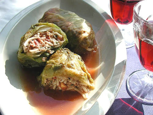 Dolmas(Turkish cuisine)  Somen (thin white noodles) wrapped in leaves