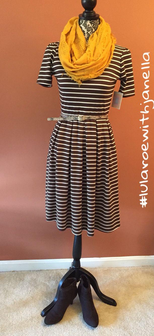 LuLaRoe Brown striped Amelia dress #lularoewithjanella #lularoeamelia #dresswithpockets