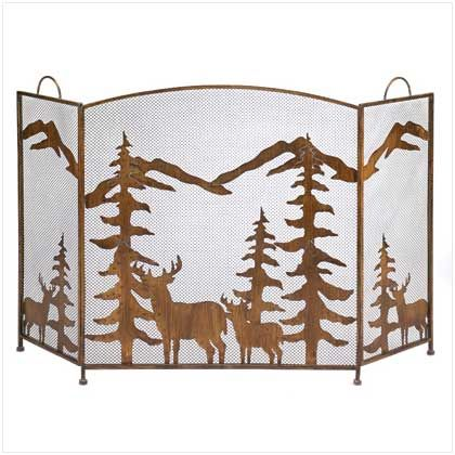 I love this fireplace screen with it's majestic portrayal of a forest scene with trees, moose, and mountains in the background. I've heard that having a fireplace screen is handy because it keeps embers from getting into the house, but also protects children from getting close to the fire. I'll have to look for a screen similar to this one to get for my fireplace.