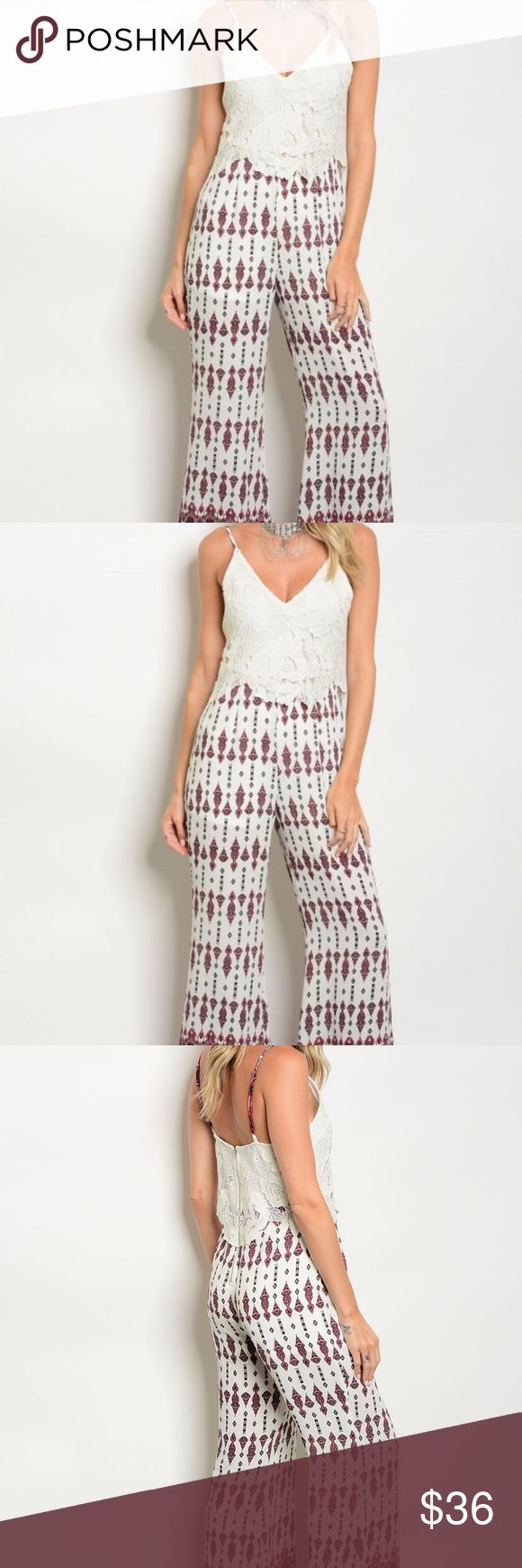 "SALE Lace Jumpsuit  Multi colored lace jumpsuit This jumpsuit will go great with a Jean jacket, Blazer or Comfy Cardigan  Small:  L: 59"" B: 28"" W: 28"" I.S.: 33""  Fabric Content:  98% POLYESTER  2% SPANDEX Pants Jumpsuits & Rompers"