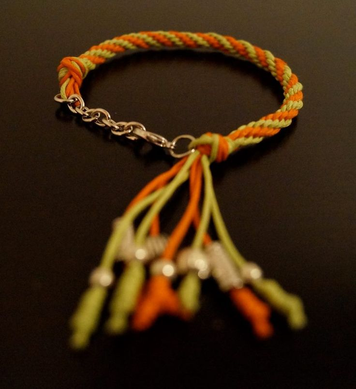 Pushiana Orange/Green Bracelet. Beautiful handmade bracelet. Available online at etsy.com/ca/shop/amaruaccessories