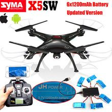 Free shipping!Syma X5SW Wifi FPV 2.4Ghz 4CH RC Quadcopter Drone+6x1200mAh Battery+1v6 Charger