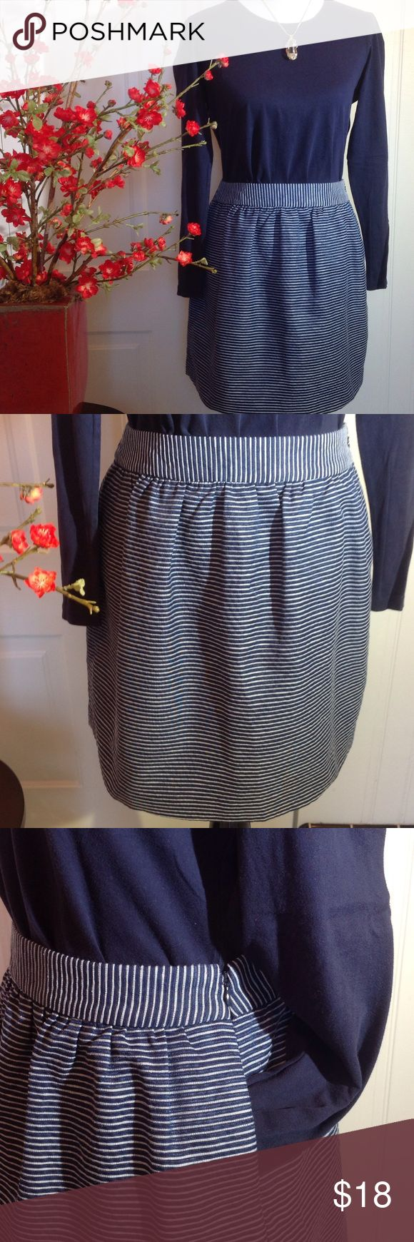 """Banana Republic Navy Stripe Skirt 69% Polyester, 31% Cotton. Lining: 100% Polyester.  Durable Fabric in Navy and White Stripes. Two side pockets and left side zipper. Waistline approx. flat lay, 15"""" and approx. 18"""" from top of waistband to hemline.  Good quality pre-owned garment. Banana Republic Skirts"""