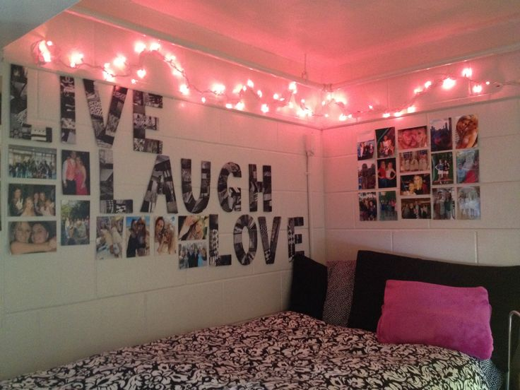 Cute college dorm bed idea college pinterest cute room ideas bedrooms and collage - College living room decorating ideas for students ...
