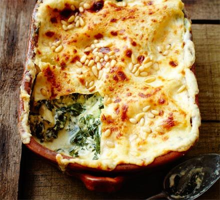 Spinach & pine nut lasagne http://www.bbcgoodfood.com/recipes/2985679/spinach-and-pine-nut-lasagne