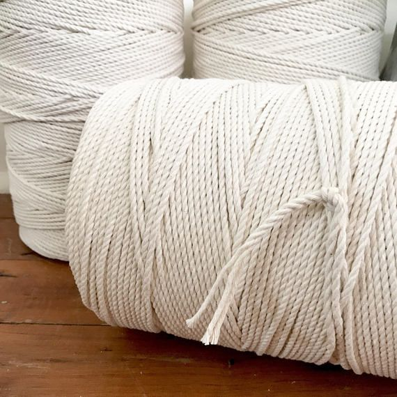 Macrame Cord 3mm X 2kg Approx 500m 3 Ply 3 Strand Twisted Natural Cotton Bulk Macrame Rope Diy Macrame Macrame Cord Macrame Crochet Rug Patterns
