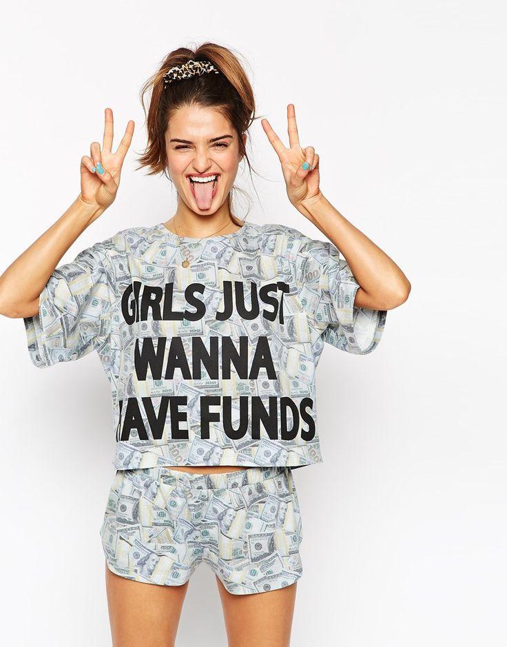 Image 1 of ASOS Girls Just Wanna Have Funds Pajama Crop Tee & Short Set