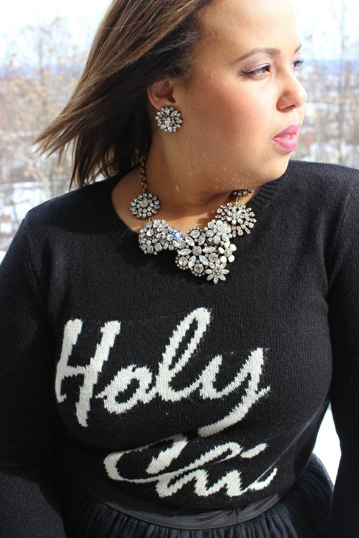 holy chic. Holy chic sweater. Forever 21. Black tutu skirt. Plus size fashion blogger. Curvy fashion.
